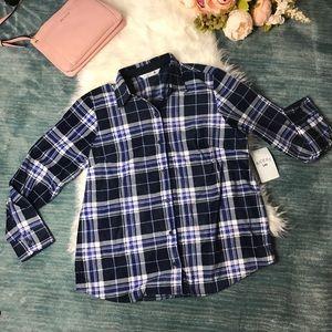 NWT Riders by Lee Blue Fleece Plaid Shirt Size M